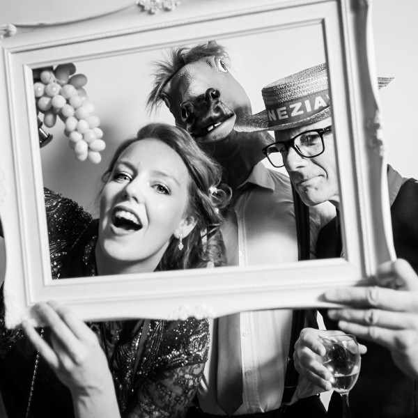 Photo booth photography at a wedding. Black and White image.