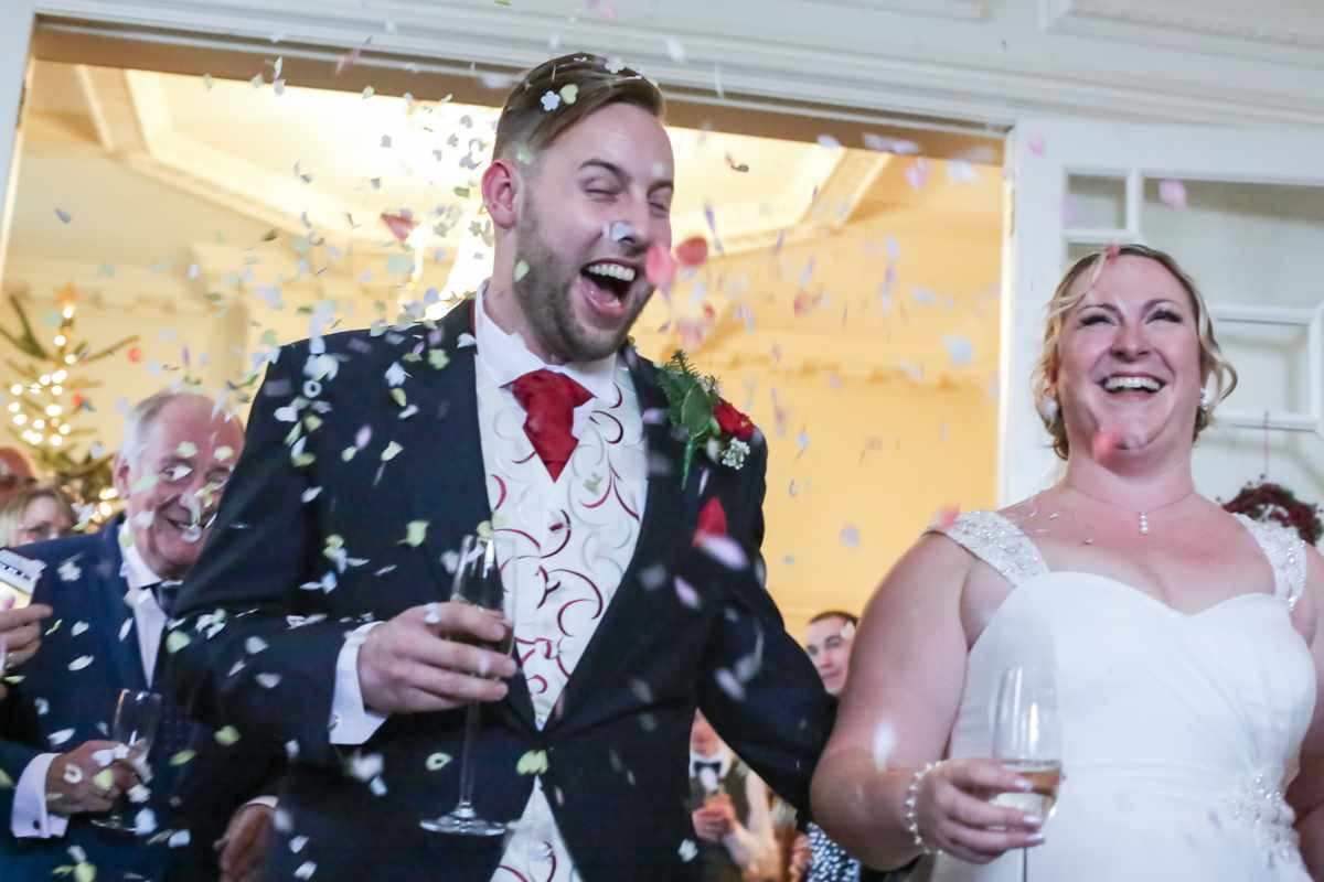 cornwall wedding photographers,Fowey Hall, Cornwall weddings, wedding photography confetti.