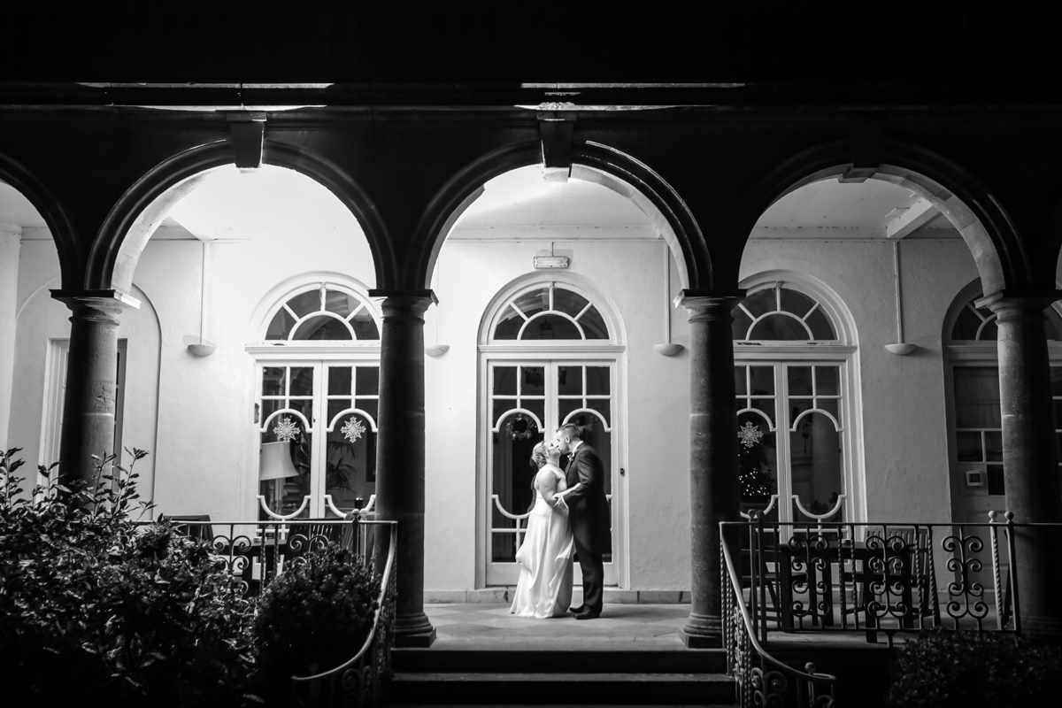 cornwall wedding photographers,Fowey Hall, Cornwall weddings, wedding photography, outside with black and white edit