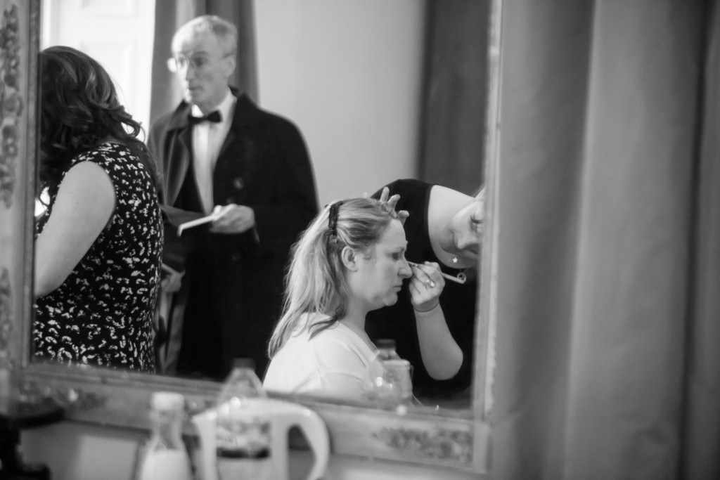 A bride at a wedding by a Cornwall wedding photographer