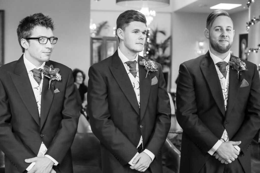 The groom at a wedding by a Cornwall wedding photographer