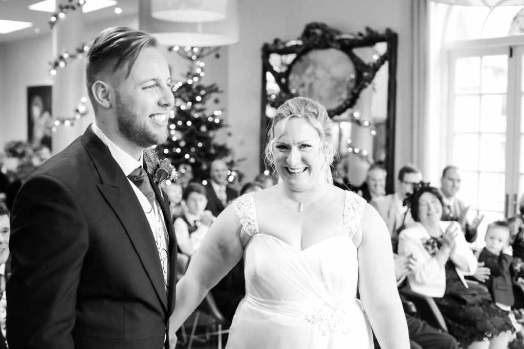 The bride and groom at a wedding by a Cornwall wedding photographer