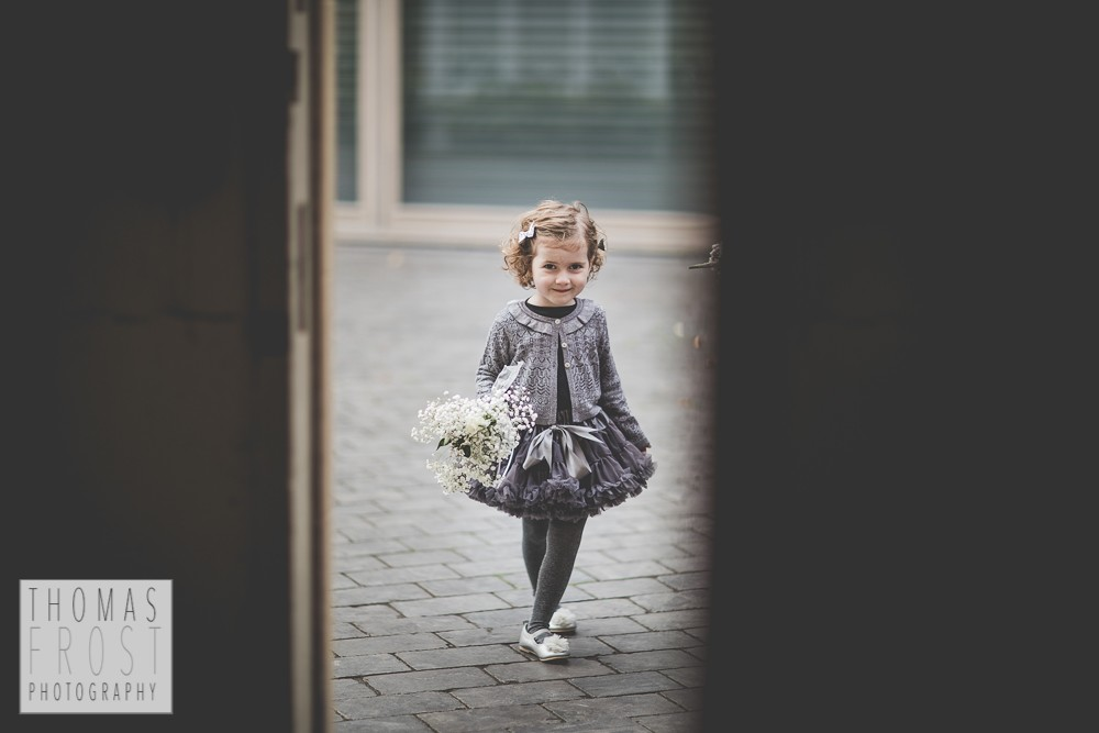 Flower girl at Prittlewell Priory Wedding, Southend-on-sea.