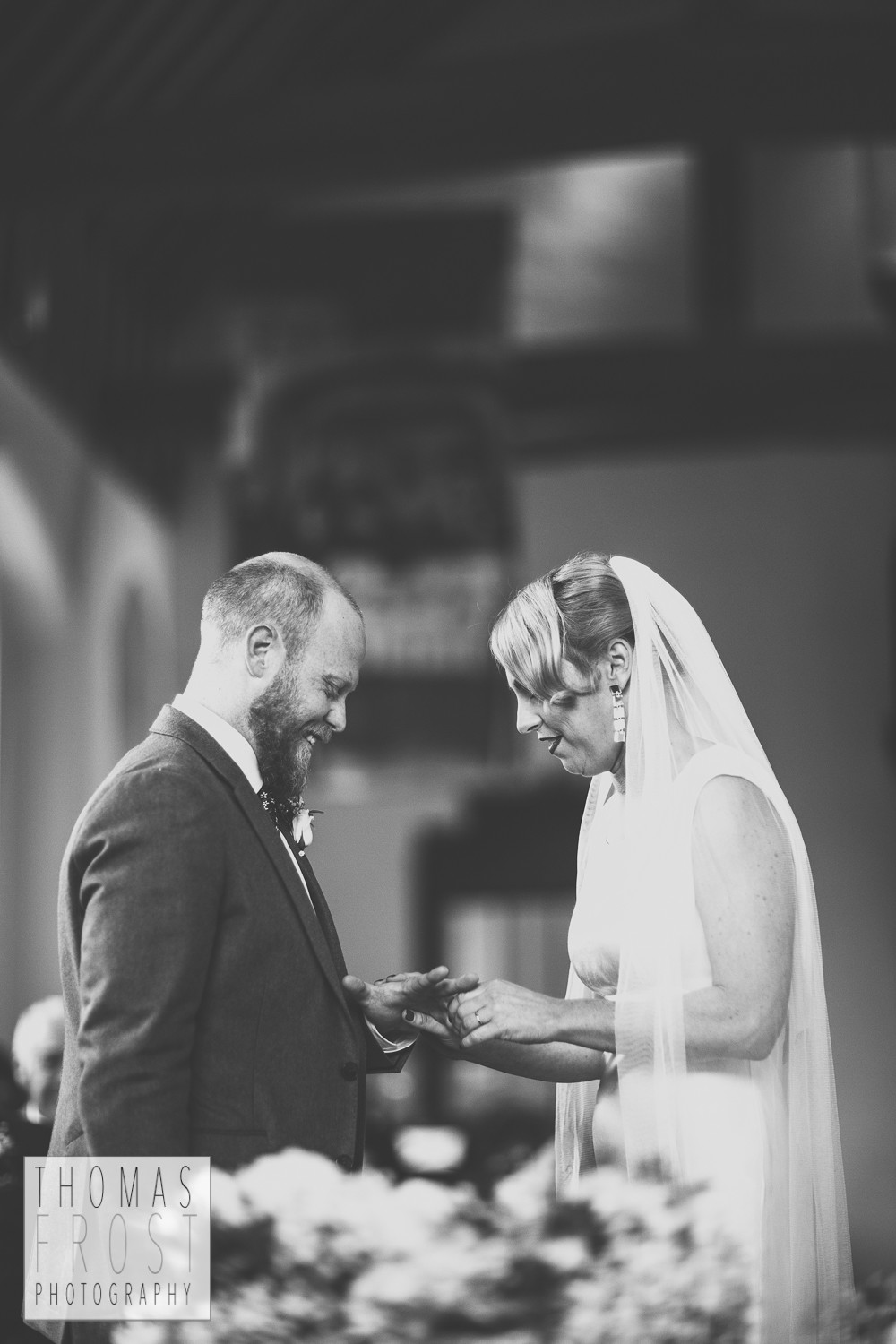 Exchange of rings at Prittlewell Priory Wedding, Southend-on-sea.