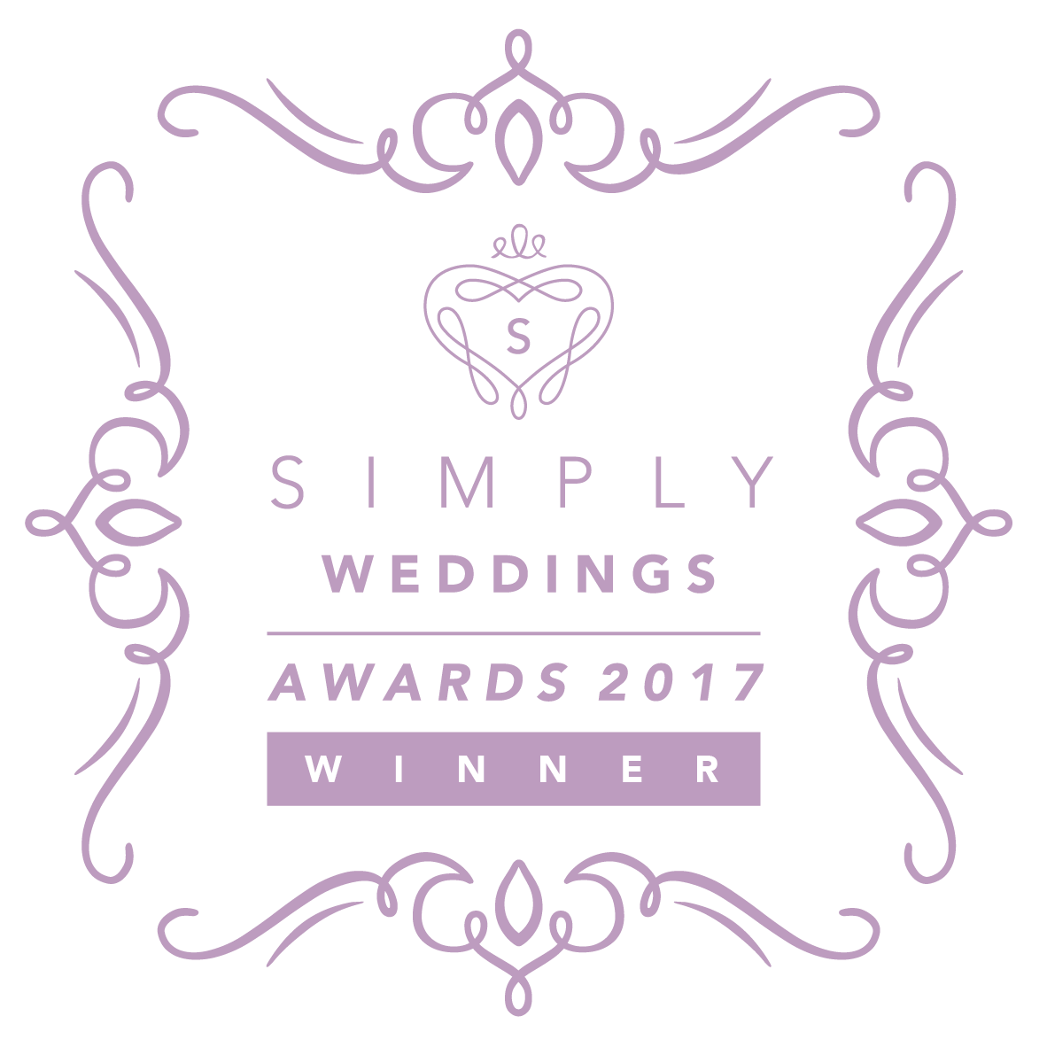 Award winning wedding photographer, award logo.
