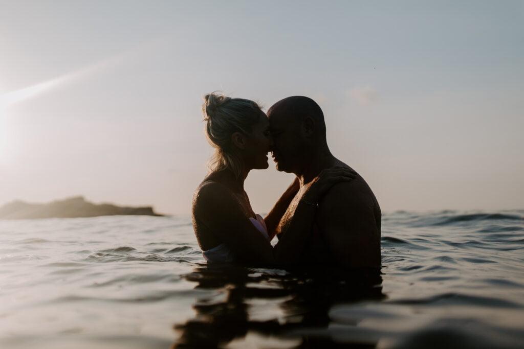 couple swimming in the sea