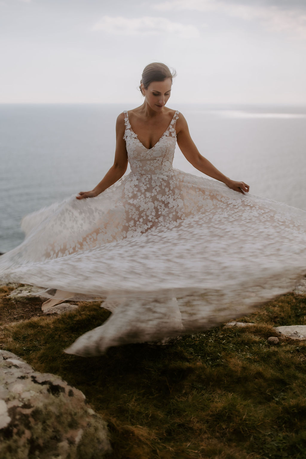 wedding dress on Cornish cliff