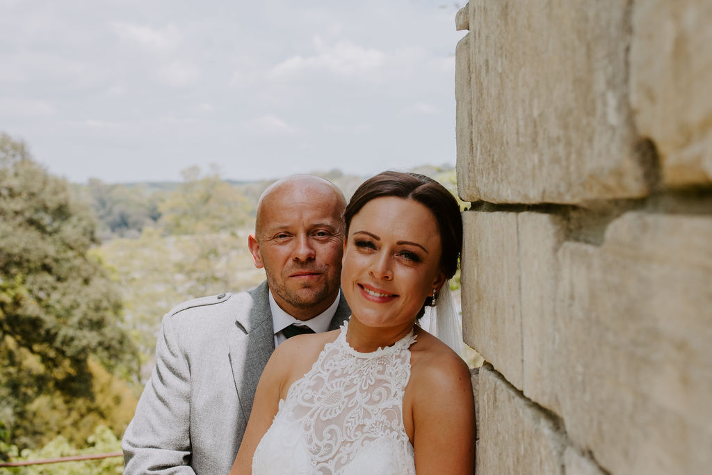 Happy wedding couple at Cornwall wedding