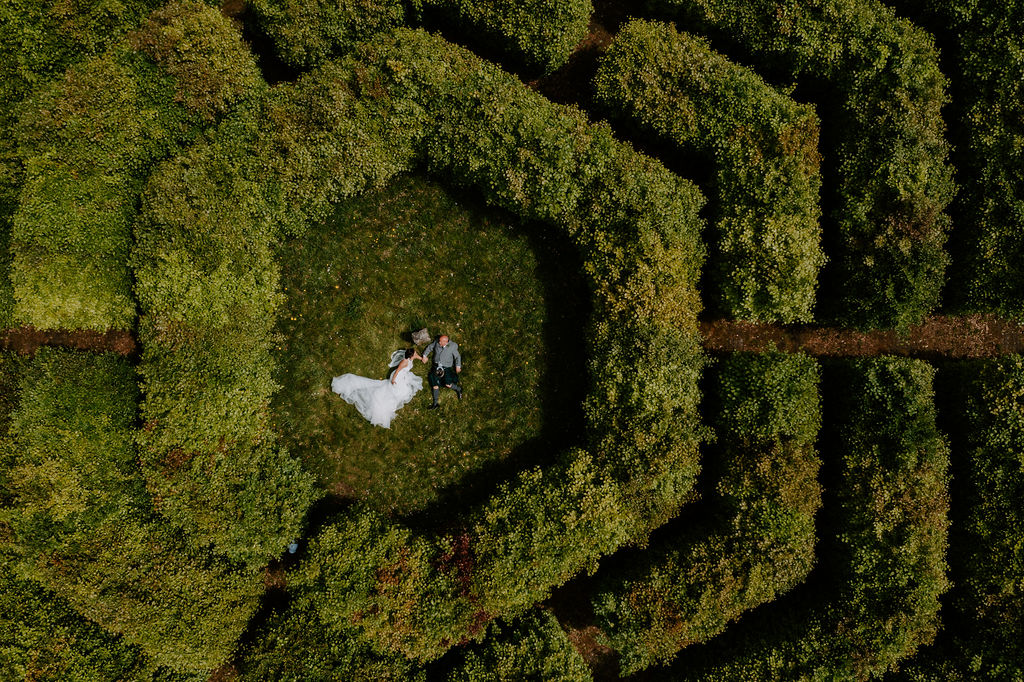 drone wedding photography in Cornwall