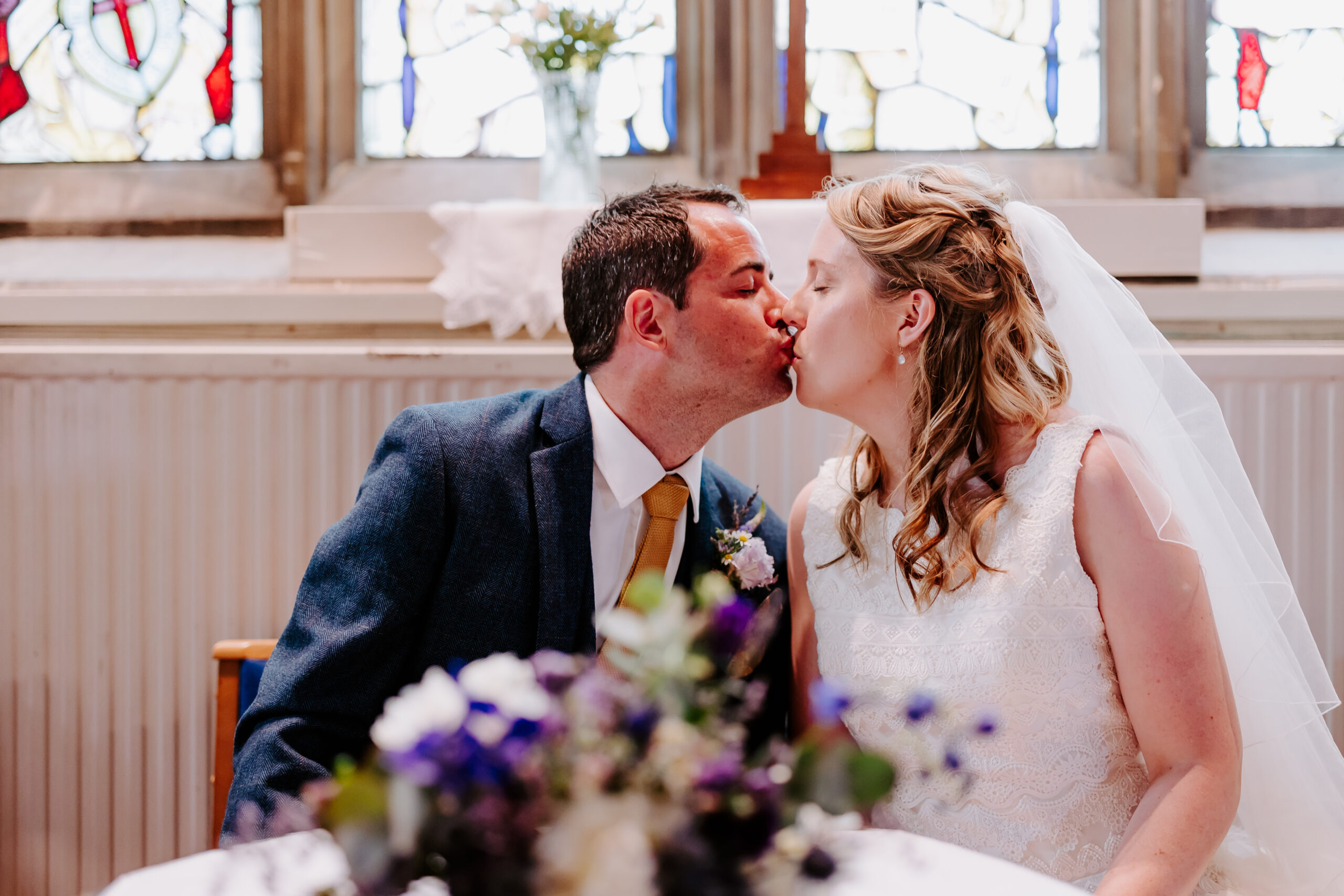 Devon wedding day kiss after signing the register