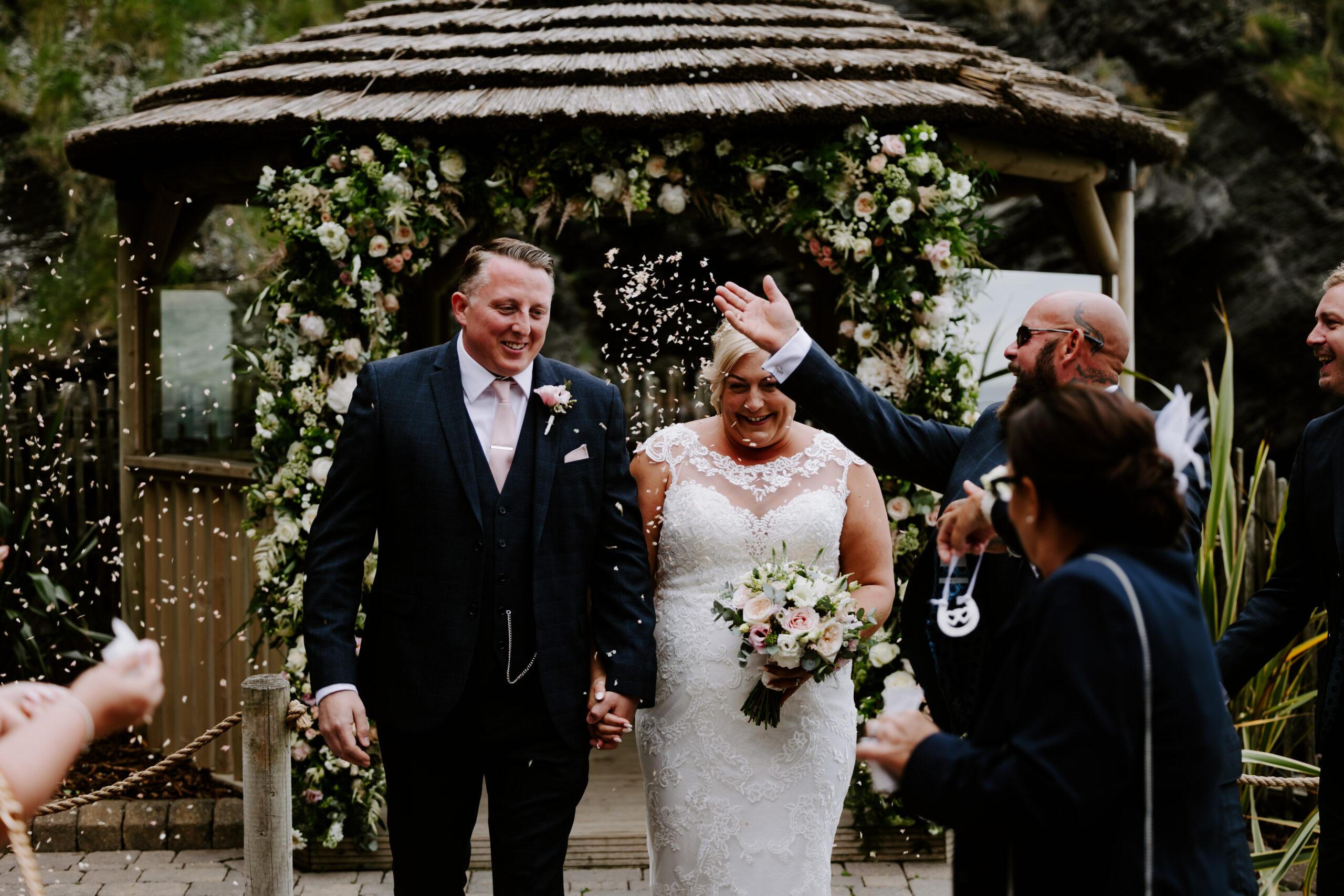Confetti moment at Devon wedding