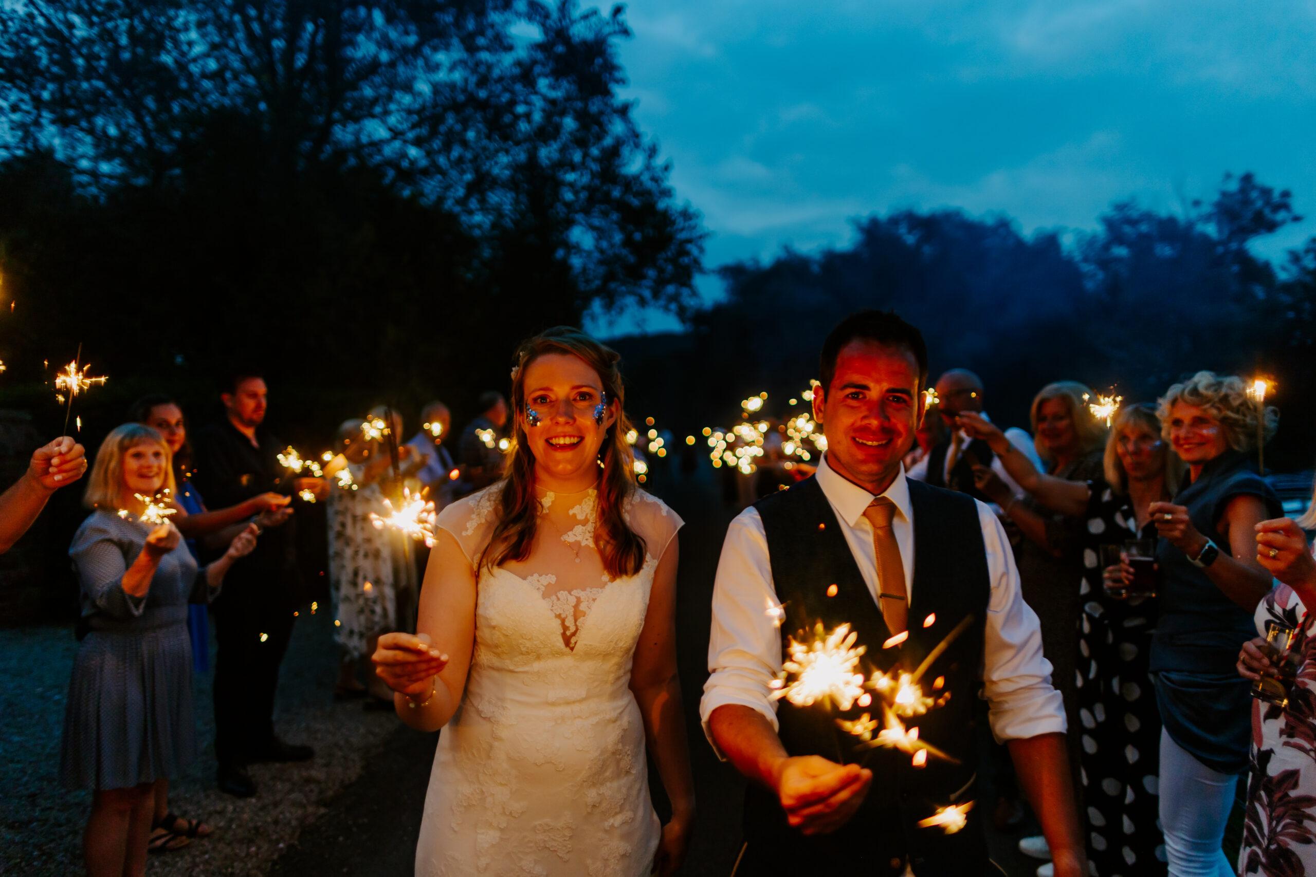 sparkler image at Devon marquee wedding