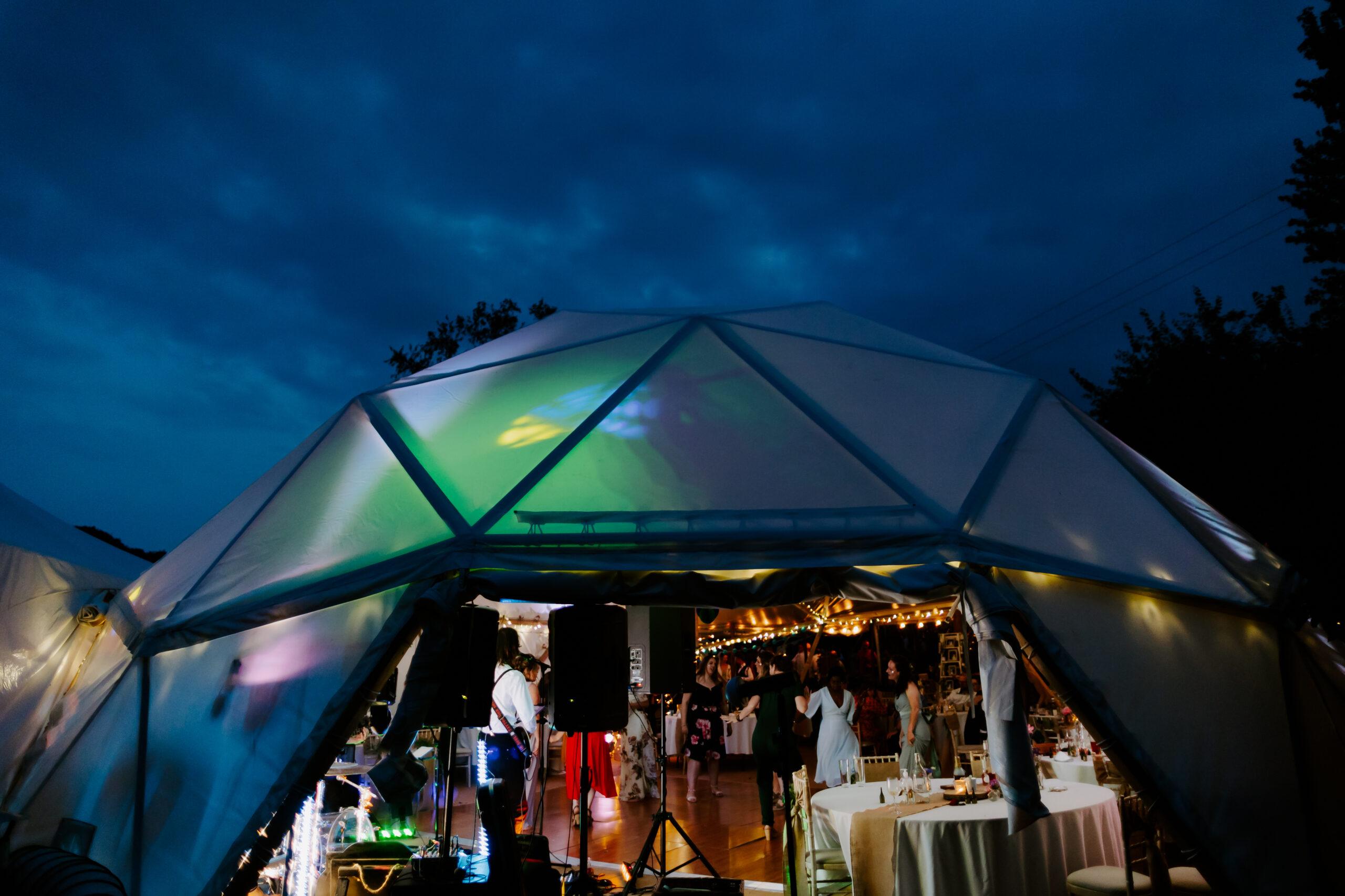 Dome marquee at garden wedding in Devon