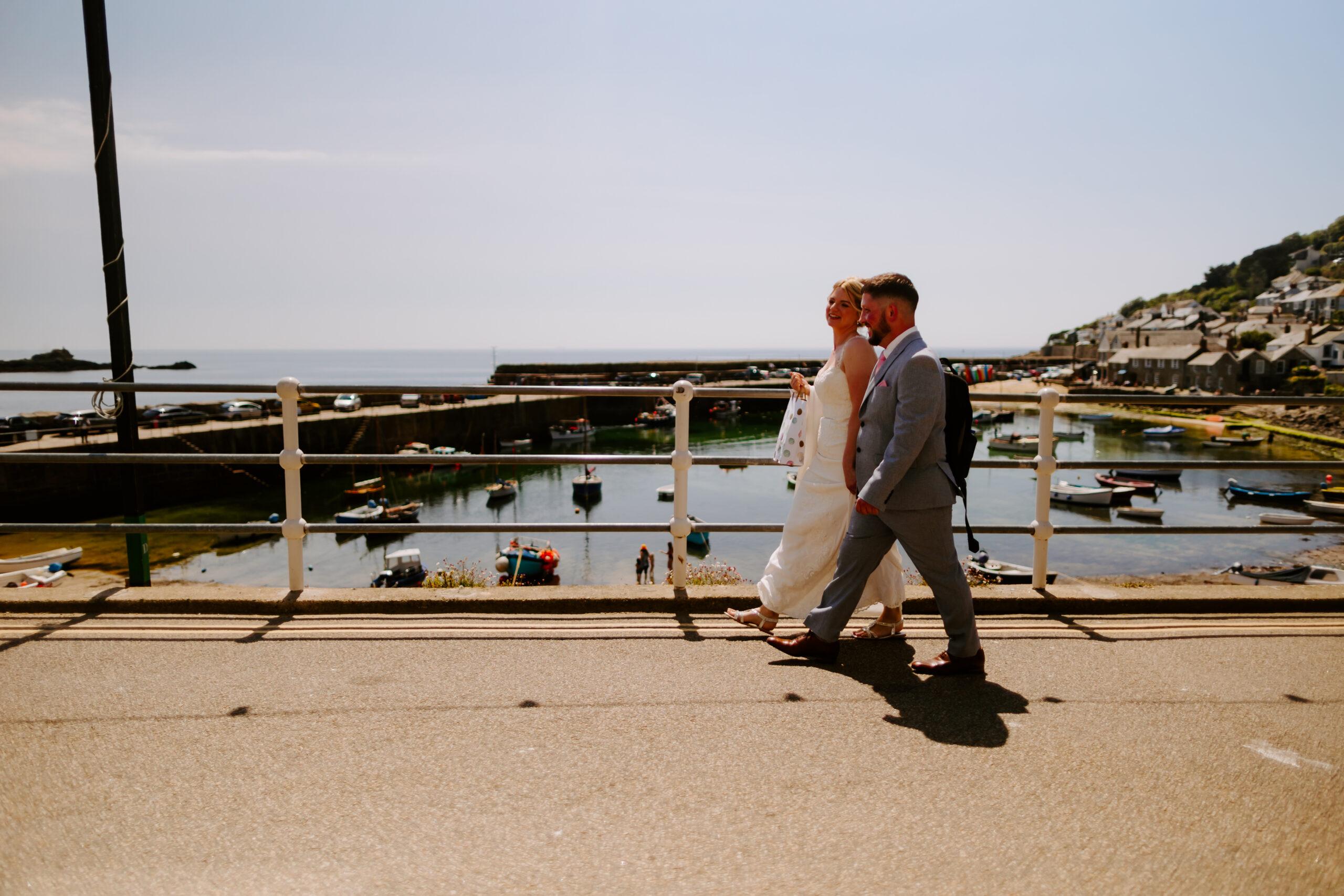 a wedding day stroll in Cornwall